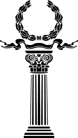 doric: Column with a laurel wreath the concept a victory