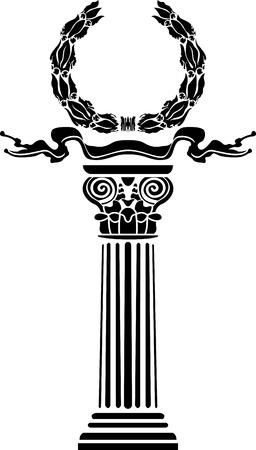 doric: Columna con una corona de laurel el concepto de una victoria Vectores