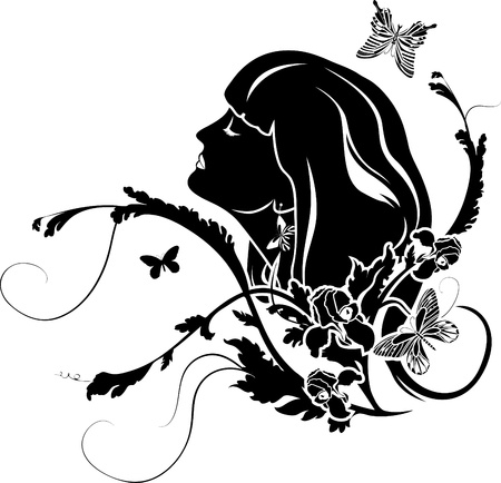 Female profile with flowers Vector