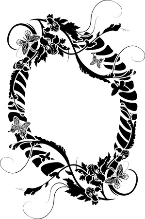 Ornate frame with flowers and butterflies. stencil Stock Vector - 9532905