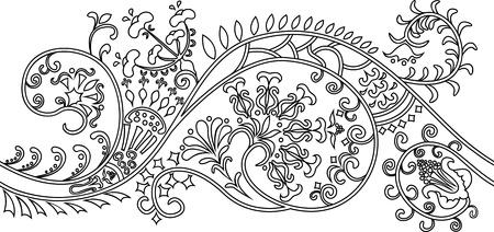 brocade: Filigree flower border. stencil Illustration
