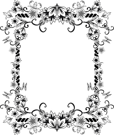 art deco design: Ornate frame with flowers and butterflies. stencil second variant
