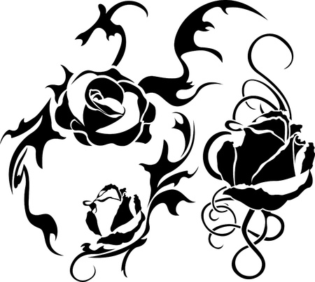Rose tattoo set illustration for web. stencil Vector