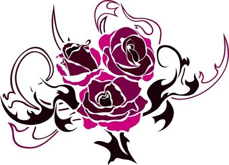 Rose tattoo illustratie bij de tweede variant web Stock Illustratie