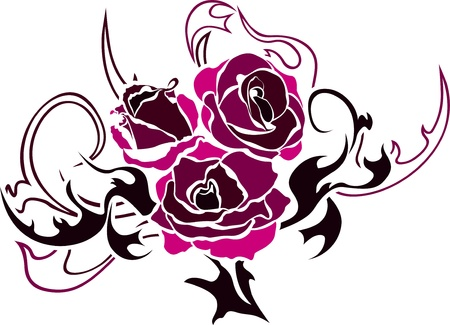 Rose tattoo illustration for web second variant Vector