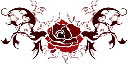 schwarze rosen: Rose Tattoo Illustration f�r Web. Schablone