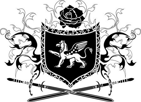 Shield with griffin, rose and crossing swords