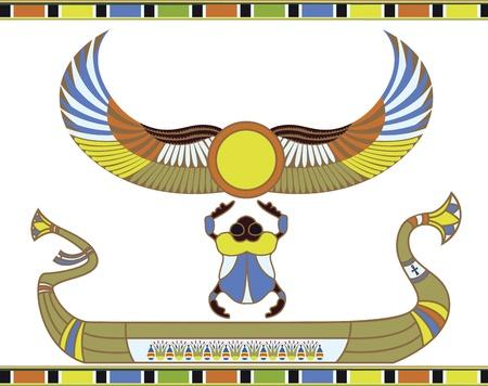 scarabeo: Barca di sole egiziano con scarabeo Vettoriali