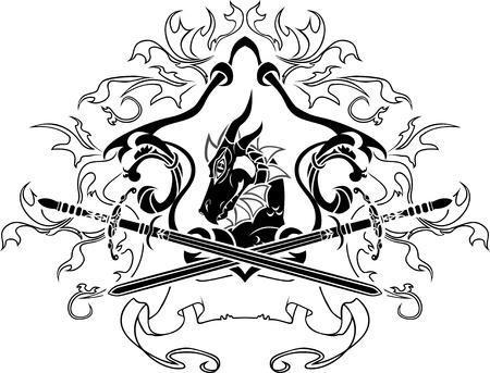 Dragon shield with swords Vector