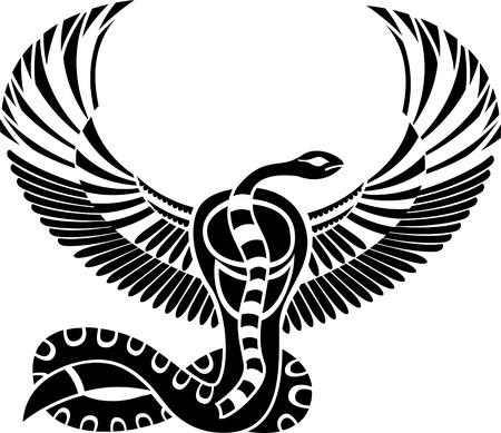 Dios egipcio de la muerte, la serpiente con alas