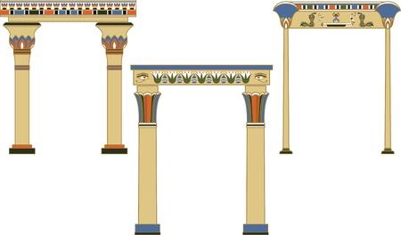Conjunto de arcos egipcio antiguo decorado con patrón