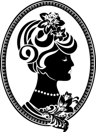 Vignette retro medallion with female profile Stock Vector - 9721442