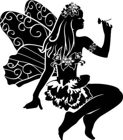 myth: beautiful sitting fairy with  flower. stencil Illustration