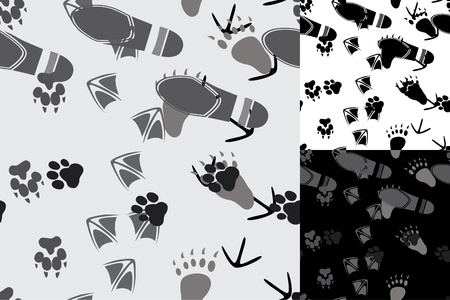Animal and human traces seamless Vector