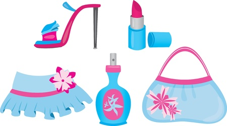 Female shopping icons set in blue and pink colores Vector