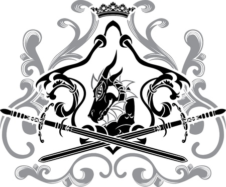 decorate element: Dragon shield with swords second variant Illustration