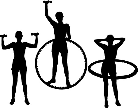 set of silhouettes young active woman goes in for sports