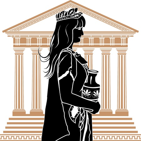 patrician: Roman patrician woman with temple on background stencil