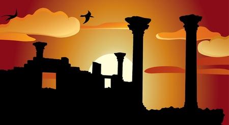 Ruinerna av antika tempel vid solnedgången Illustration