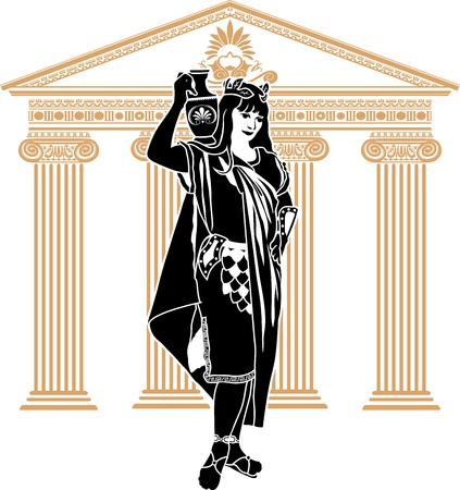 Roman patrician woman second variant stencil Vector