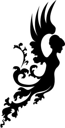 Fantasie engel silhouet Stock Illustratie