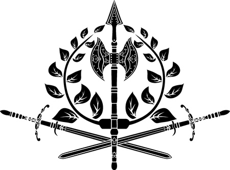 Victory symbol with axes, sword and laurel wreath Illustration