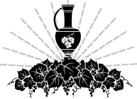 greek pottery: Vine symbol stencil: grapevine branch with amphora Illustration
