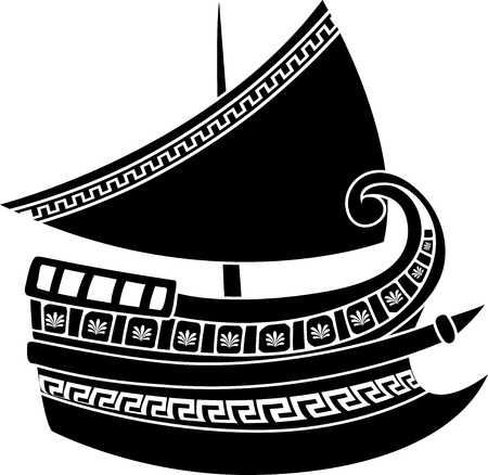 Greek ship stencil Stock Vector - 10380901