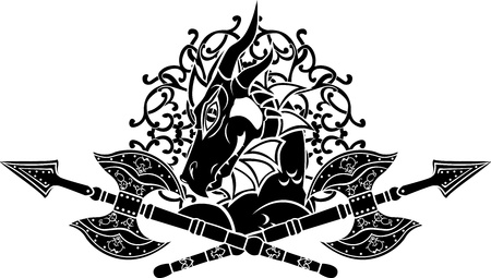 Dragon with crossing axes Stock Vector - 10421439