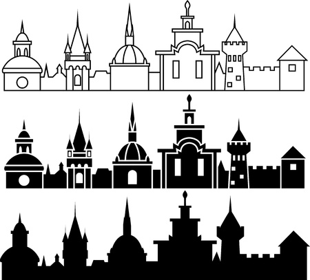Medieval town panorama in three variants Vector