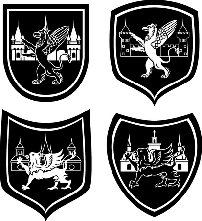 gryphon: Municipal arm with a griffin four variants stencil Illustration