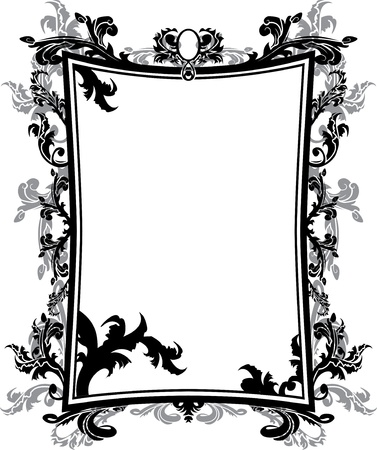 baroque frame: Ornate vintage frame stencil Illustration