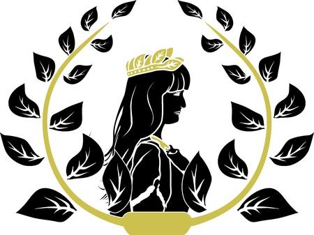 diosa griega: Corona de laurel con perfil de mujer Patricia romane
