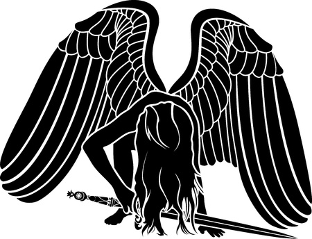 person falling: Fallen angel with sword. revenge symbol