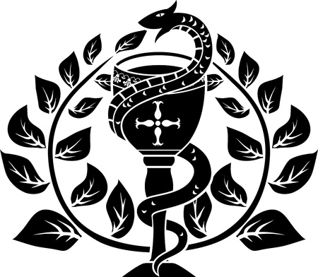 pharmacy snake symbol: Snake on a bowl with laurel wreath Illustration