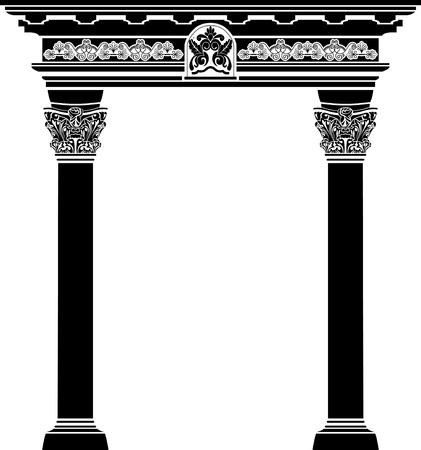 colonna romana: Arco classico con colonna fiigree e illustrazione vettoriale modello per il web