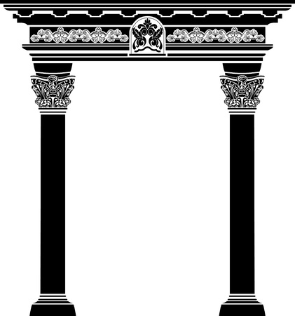roman pillar: Classic arch with fiigree column and pattern vector illustration for web