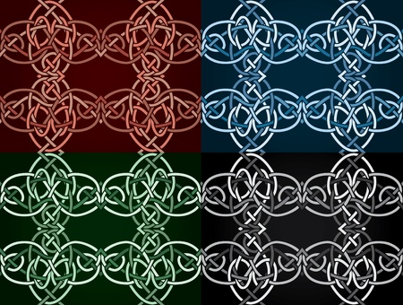 Celtic knotted seamless in four colored variants Vector