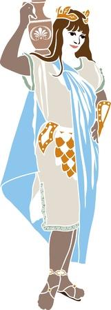 afrodite: Colorati patrizio romano stencil donna Vettoriali