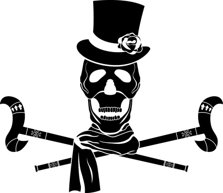 Dandy skull in cylinder with rose. stencil illustration Vector