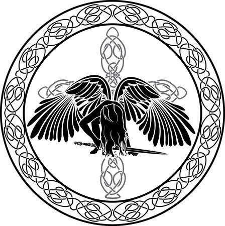 Celtic ängel i prydnads cirkel med kors Illustration