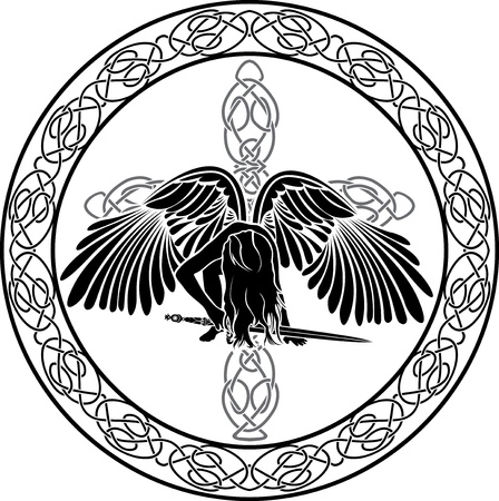 Celtic angel in ornamental circle with cross Vector