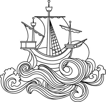 galley: Sailing vessel in art nouveau style. stencil