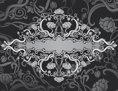 gothic revival style: Revival ornate frame background. vintage banner Illustration