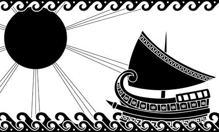 ancient greek: Ship in ocean in classic greek style. stencil