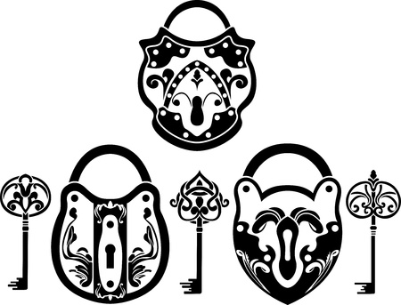 Vitage hänglås och nyckel set. stencil
