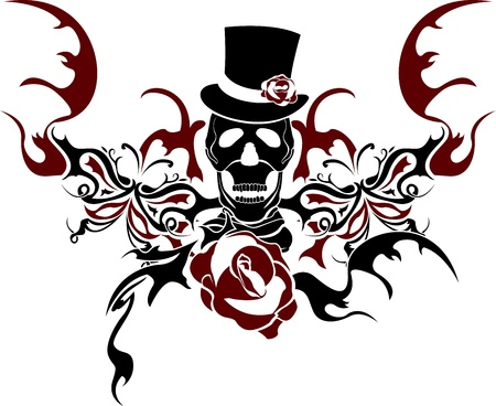 Skull with butterrfly and rose composition Vector