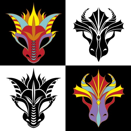 Dragon mask set. Fiery dragon symbol of the new year. Stencil and colored variant Vector