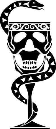 occult: Taza de la muerte. Una taza en forma de una calavera con una serpiente Vectores