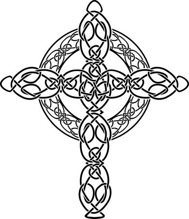 ancient relics: Knotted celtic cross stencil. vector illustration for web